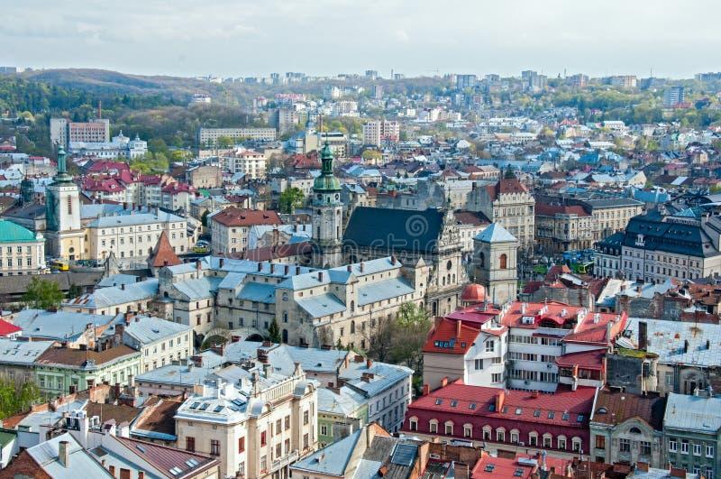 Widok obszar zamieszkały z domami i ulicami od above obrazy stock