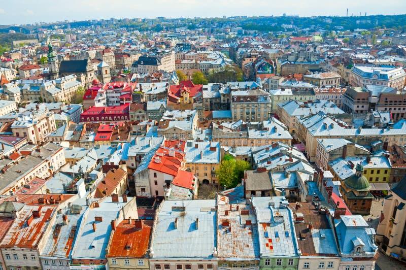 Widok obszar zamieszkały z domami i ulicami od above zdjęcia royalty free