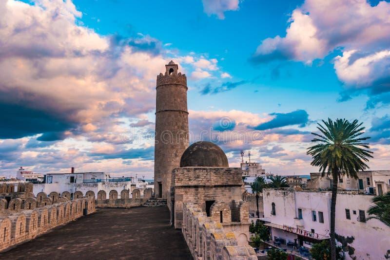 Widok od ścian forteca Ribat Sousse w Tunezja zdjęcia royalty free