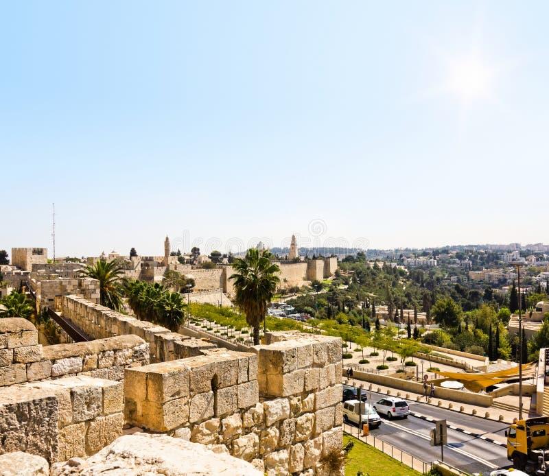 Widok od ścian stary Jerozolima, Izrael zdjęcia stock
