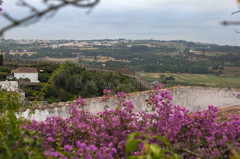 Widok od Średniowiecznego Portugalskiego miasta Obidos ściany: Krajobraz fotografia stock