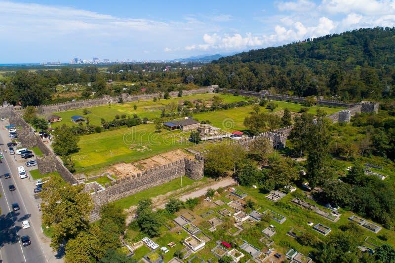 Widok od above ruiny forteczny Gonio i cem obraz stock