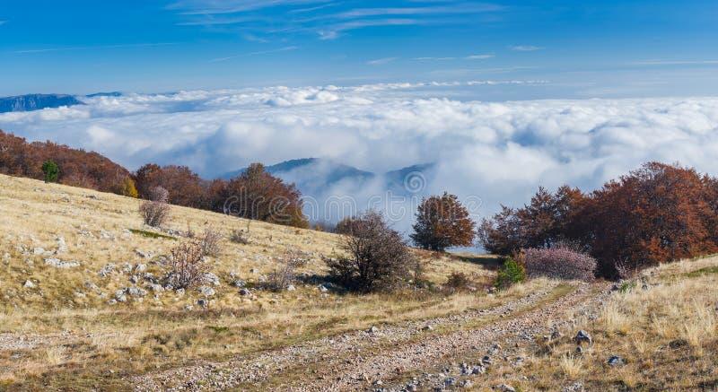 Widok od Babuhan Yaila naturalnej rezerwy puszka Czernić morze zdjęcia royalty free
