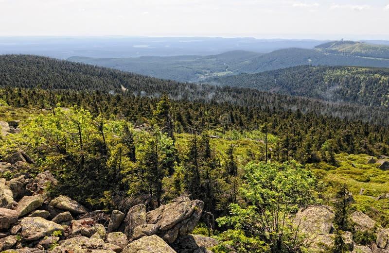 Widok od Brocken szczytu nad Harz górami z swój rockowymi formacjami i lasem obrazy royalty free