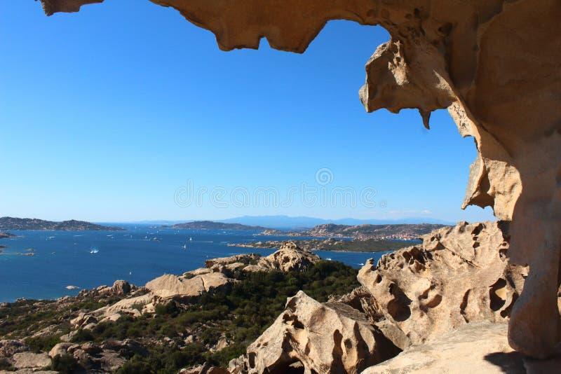 Widok Od Capo D'Orso skały w Sardinia obraz royalty free