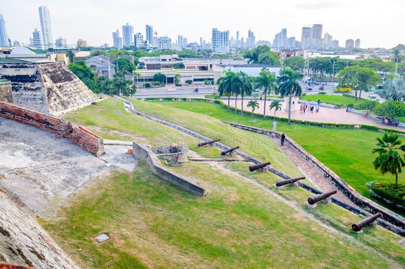 Widok od Castillo fortecy w Cartagena zdjęcie stock