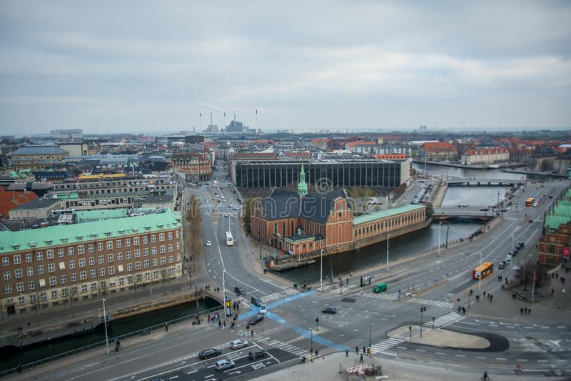 Widok od Christiansborg wierza copenhagen Dani fotografia stock
