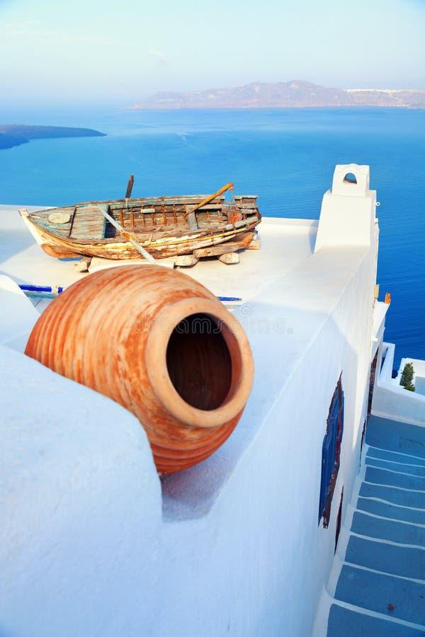 Widok od Firostefani, Santorini fotografia stock