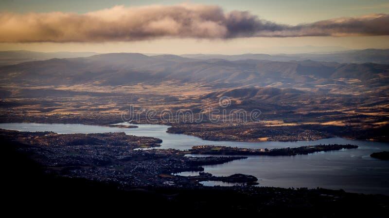 Widok od góry Wellington przegapia Hobart, Tasmania, Australia zdjęcia royalty free