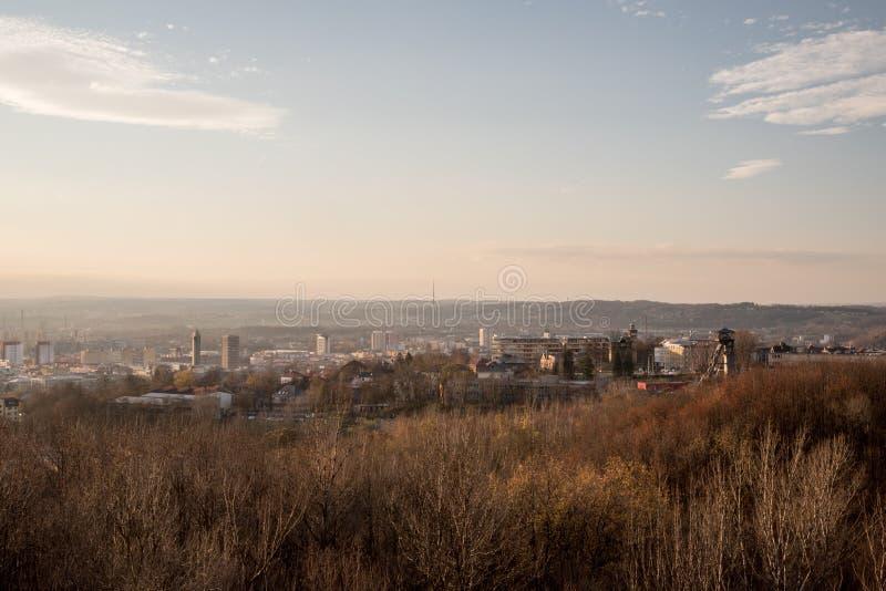 Widok od Halda Ema nad Ostrava miasto w republika czech zdjęcie royalty free
