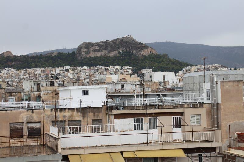 Widok od hoteldachowych Likavittos wzgórze, Ateny zdjęcie stock