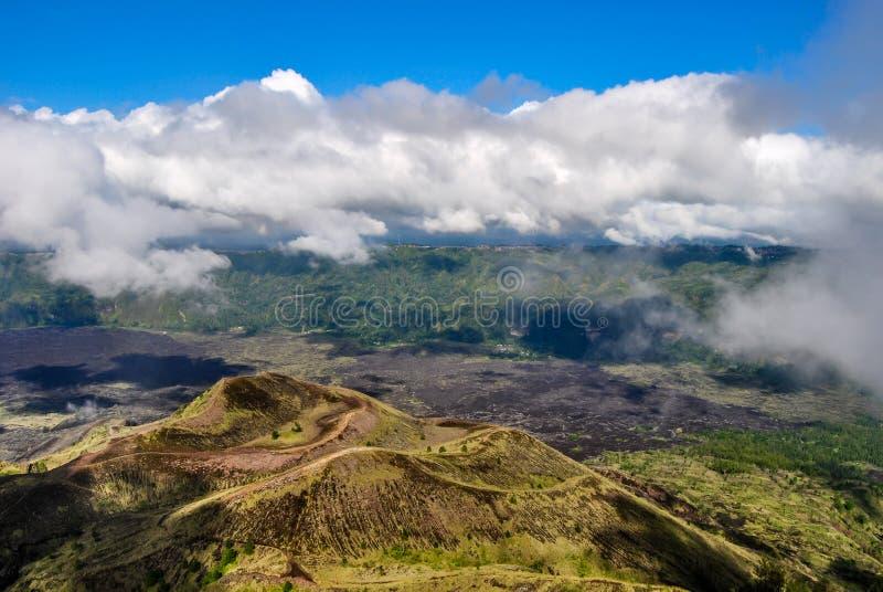 Widok od kaldery wulkan Batur, Bali, Indonezja zdjęcie stock