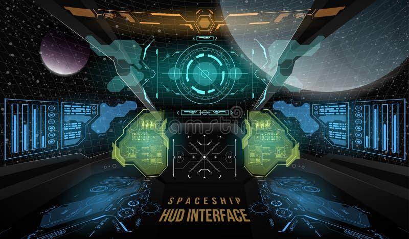 Widok od kokpitu statku kosmicznego Głowa pokazu elementy dla statku kosmicznego interfejsu Szablon UI i wirtualny dla app ilustracji