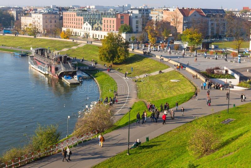 Widok od Królewskiego Wawel kasztelu terenu w Krakow na Listopadzie 02, 2014 zdjęcie stock