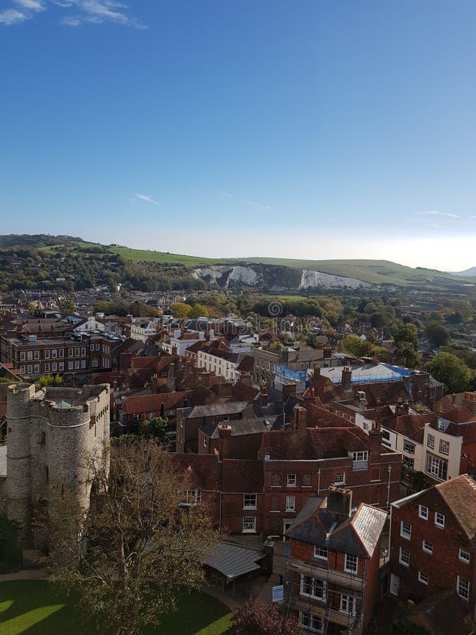 Widok od Lewes kasztelu ramparts obrazy royalty free