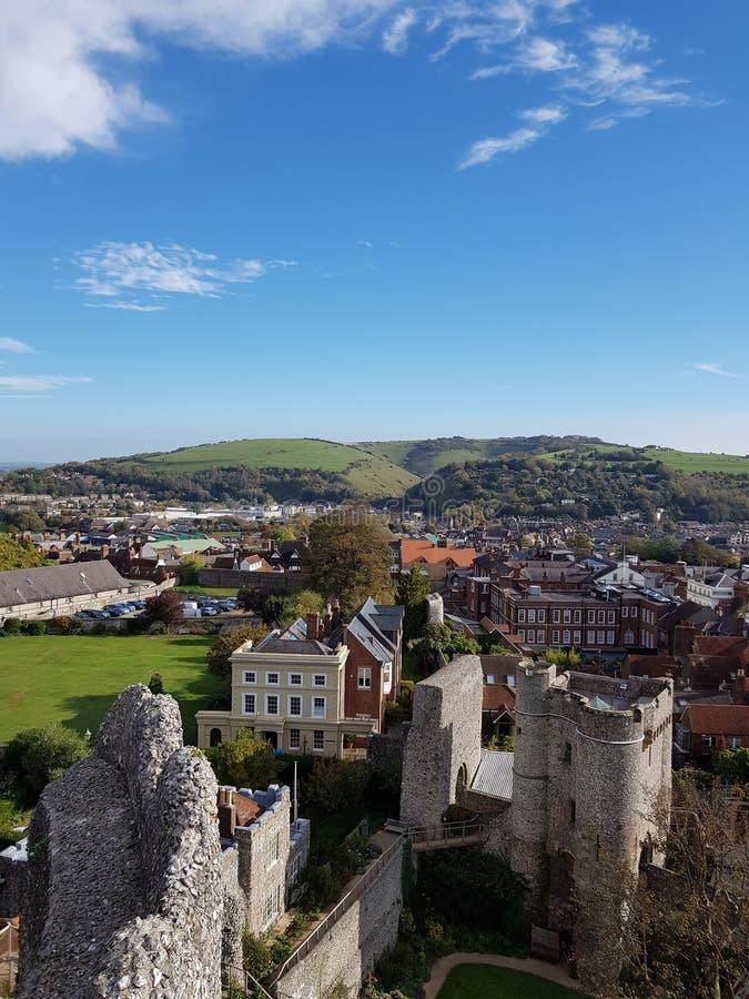 Widok od Lewes kasztelu ramparts zdjęcia stock