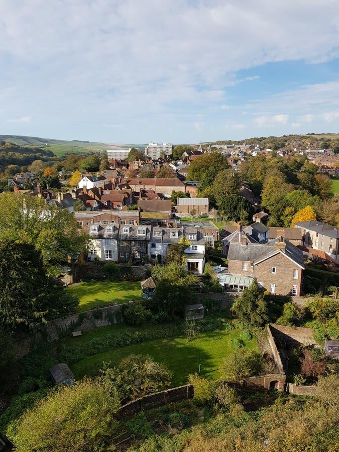 Widok od Lewes kasztelu ramparts zdjęcia royalty free