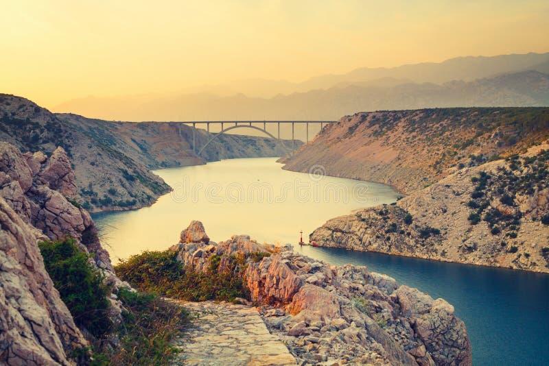 Widok od Maslenica mosta obrazy royalty free