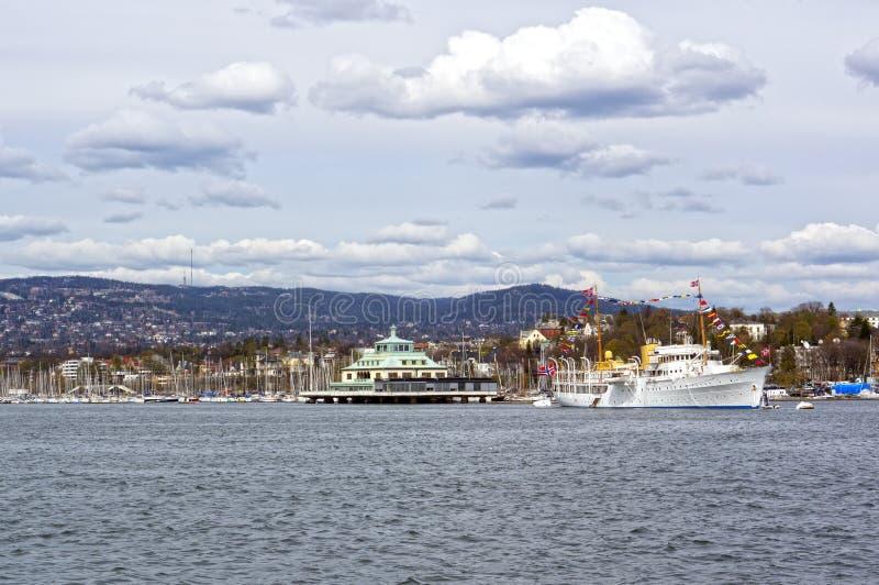 Widok od morza statek wycieczkowy, Oslo i Oslo Fjord, fotografia stock