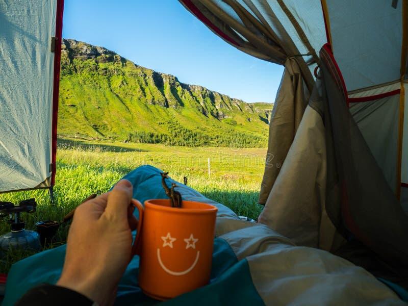 Widok od namiotu Iceland obrazy royalty free