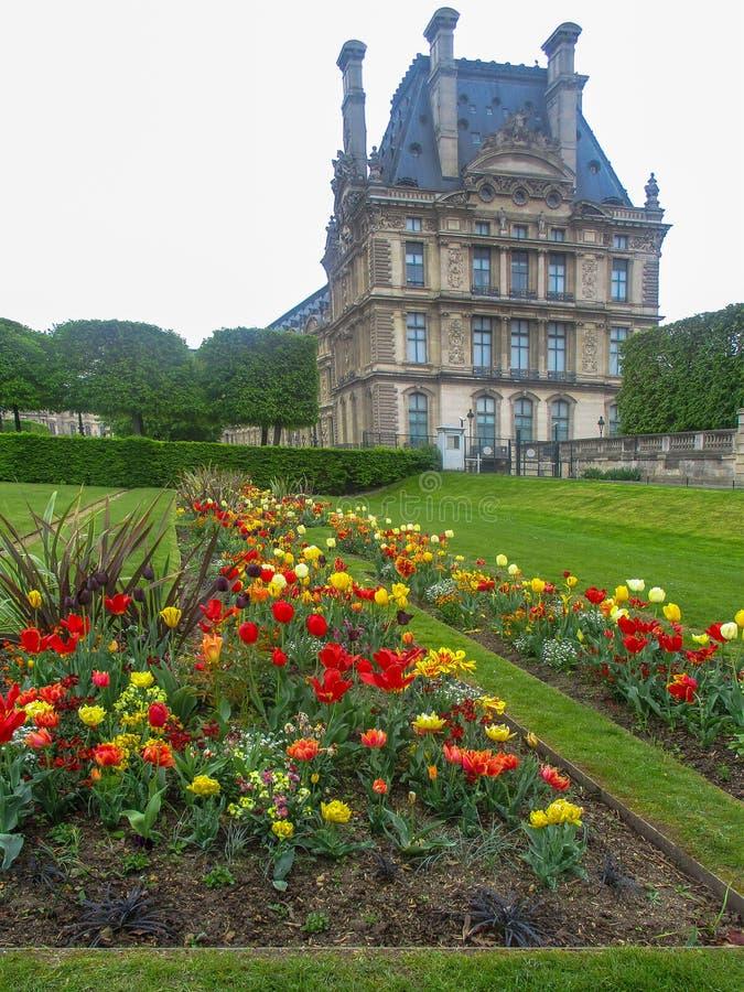Widok od ogródów przez stubarwnych tulipanów część louvre zdjęcia royalty free