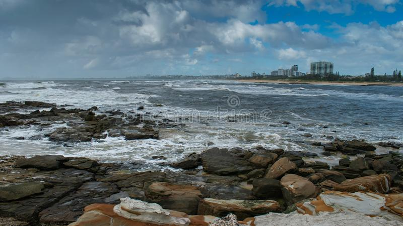 Widok od Północnego brzeg przez ujście Maroochydore zdjęcie royalty free