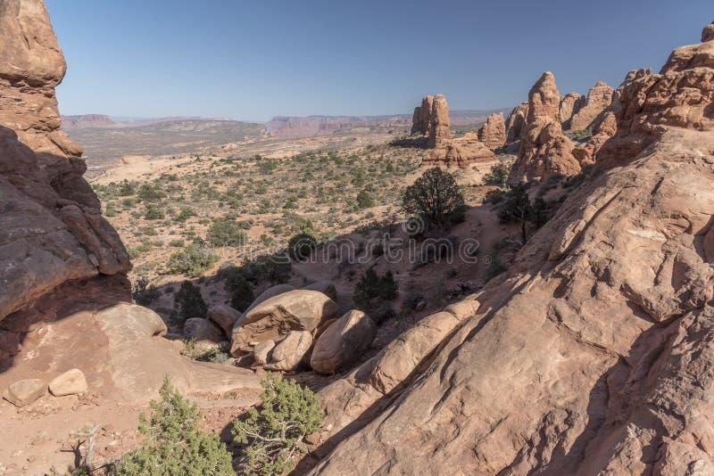 Widok od Północnego okno łuku, łuku park narodowy Moab Utah fotografia royalty free