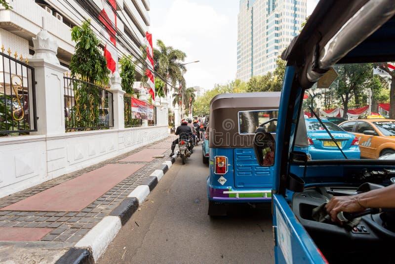 Widok od pojazdu tu tuku Jakarta obrazy royalty free
