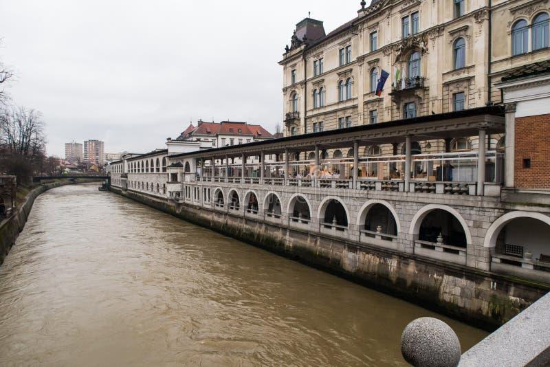 Widok od potrójnego mosta, Slovenia zdjęcia royalty free