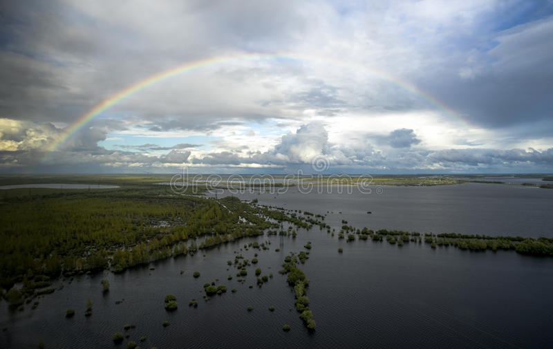 Widok od powietrza podczas powodzi obrazy stock