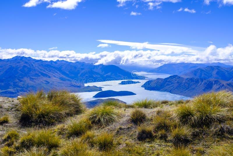 Widok od Roys szczytu blisko Wanaka fotografia stock