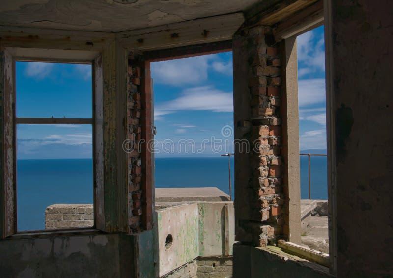 Widok od ruiny morze w Północnym - Ireland obraz stock