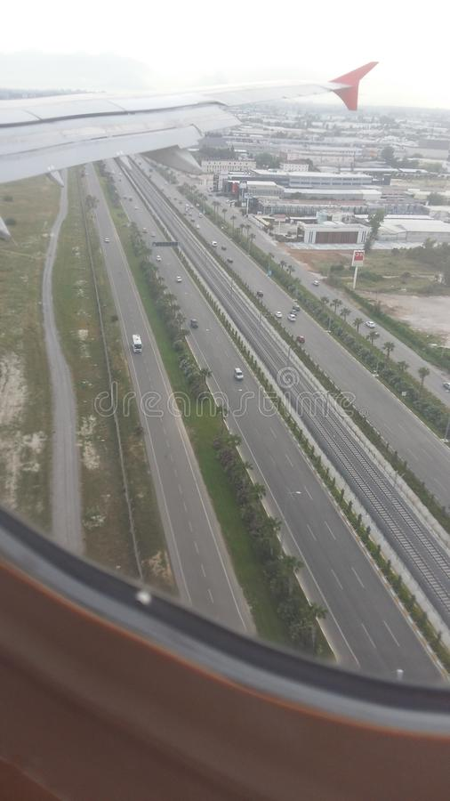 Widok od samolotowego okno fotografia stock