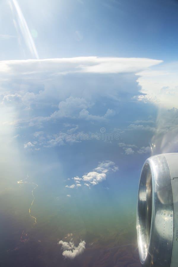 Widok od samolotowego okno obrazy stock