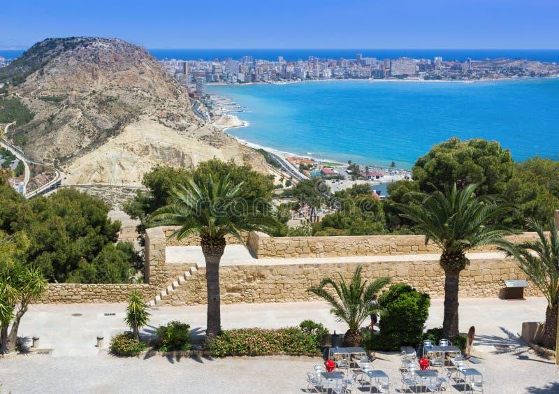 Widok od Santa Barbara kasztelu Alicante linia brzegowa, Hiszpania obrazy royalty free