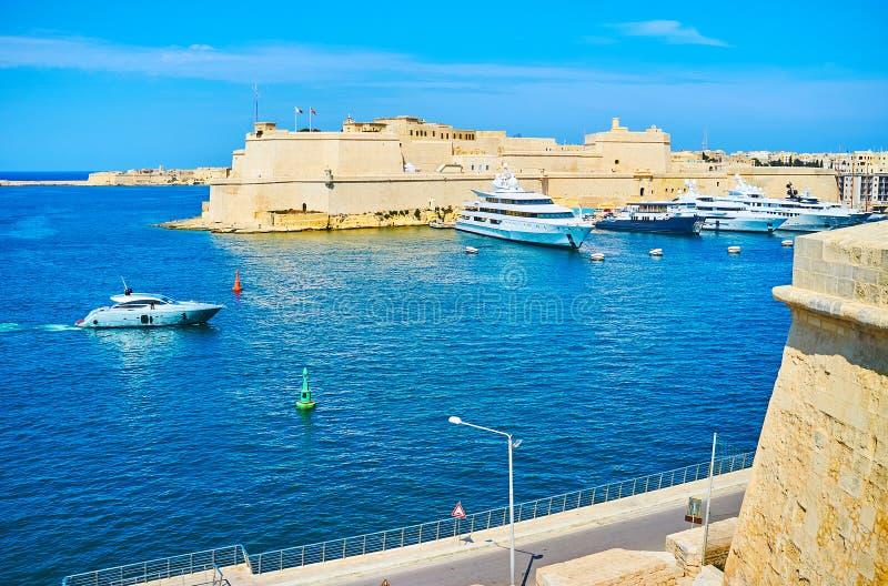 Widok od Senglea ramparts, Malta obrazy royalty free