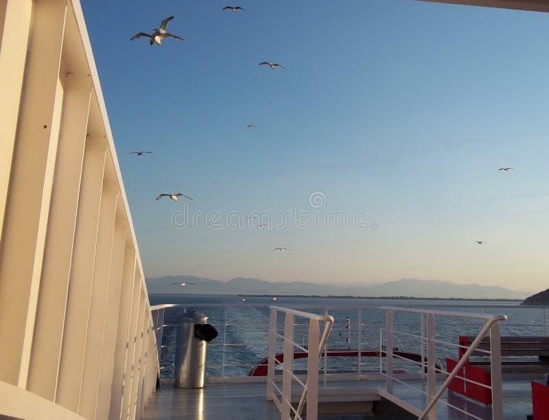 Widok od statku, prom na niebie zdjęcia stock