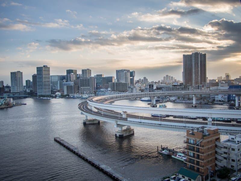 Widok Od tęcza mosta, Tokio, Japonia, południe trasa fotografia royalty free