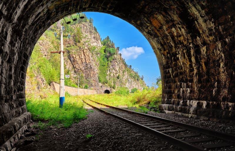 Widok od tunelu wschodnia Baikal kolej zdjęcia royalty free
