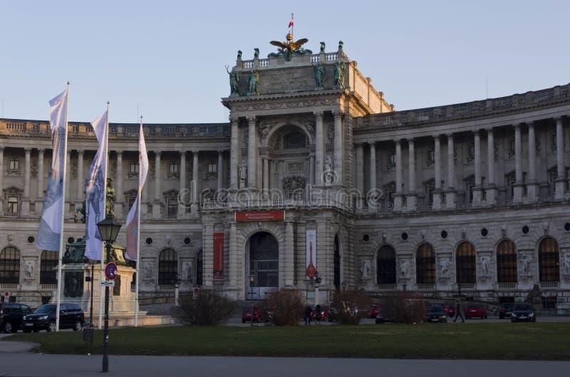 Widok od ulicy Hofburg pałac fasada w Wiedeń obraz stock