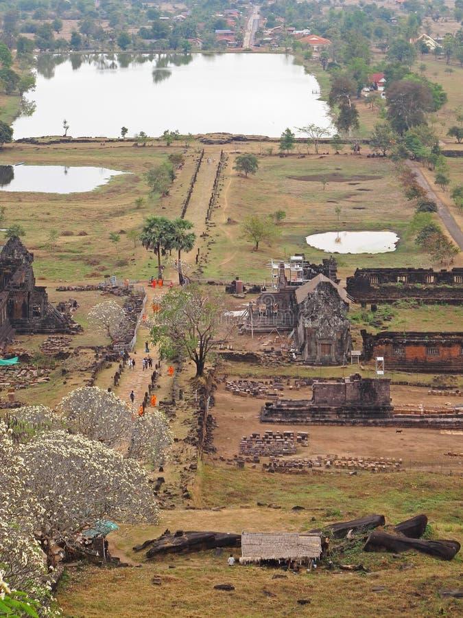 Widok od Wata Phu, Laos zdjęcia stock