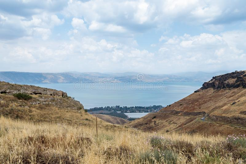 Widok od wzgórze golan morze Galilee - Kineret, Jest zdjęcia stock
