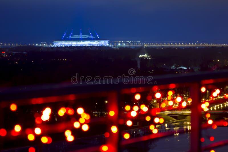 Widok od wzrostów na Zenit arenie w wieczór ligh fotografia stock