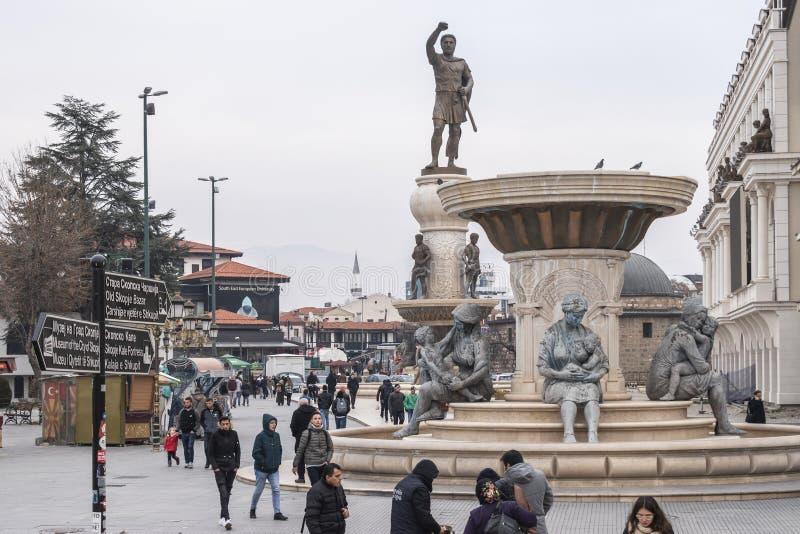 Widok Olympias zabytek i Philip II Macedon zabytek zdjęcie stock