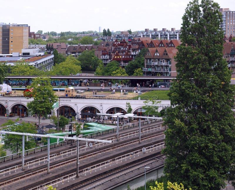 Widok ont on dach ogrodowy Hofbogen w Rotterdam obraz royalty free