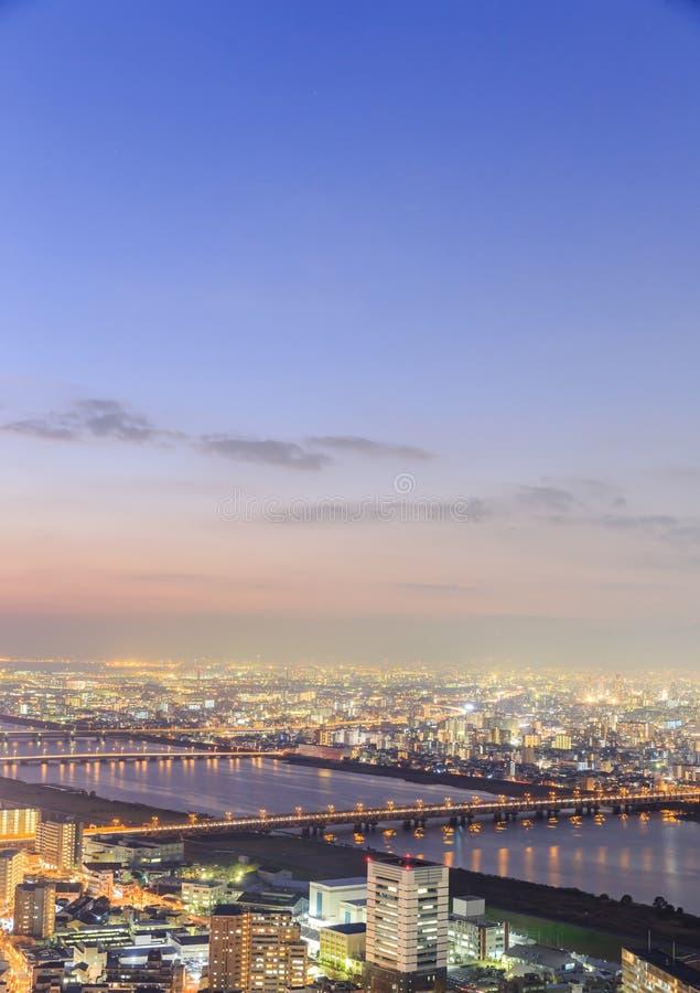 Widok Osaka od najwyższego piętra wysoki budynek w miasteczku obraz stock