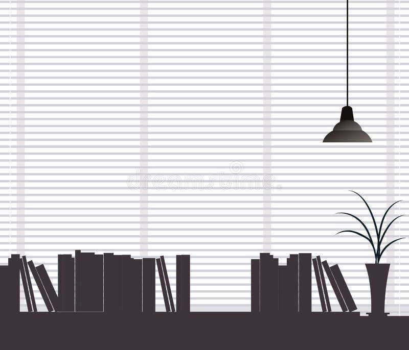 Widok półka na książki ilustracji