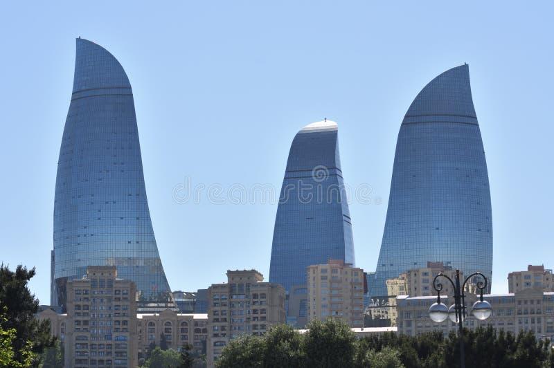 Widok płomienia wierza w Baku obrazy stock