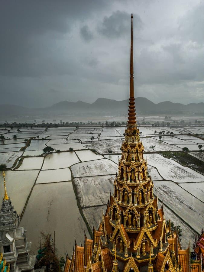 Widok pagoda Wata Tham Sua świątynia z pięknym irlandczyka polem w wodzie w tle podczas padać obraz stock