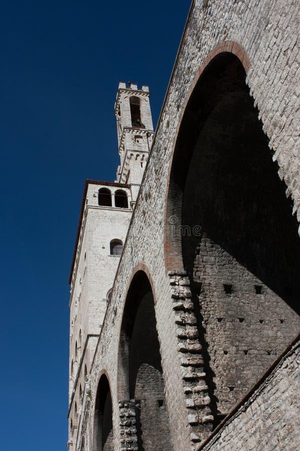Widok Palazzo dei Consoli w Gubbio, Umbri (pałac konsulowie) fotografia stock
